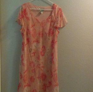 Dress Barn peach chiffon Maxi dress